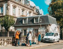 France 3 alsace reporters preparing to transmit live from the st Royalty Free Stock Photos