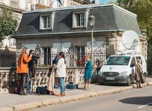 France 3 alsace reporters preparing to transmit live from the st Royalty Free Stock Photo