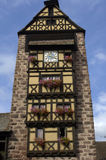 France, Alsace, Riquewihr. France, a tower in the small village of Riquewihr in Alsace Stock Photo