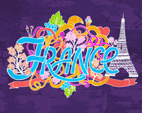 France art abstract hand lettering and doodles elements background. Vector illustration for colorful template for you Royalty Free Stock Photos