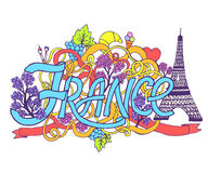 France art abstract hand lettering and doodles Stock Photo