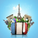 France. And attractions of Paris, retro suitcase, travel Royalty Free Stock Photo