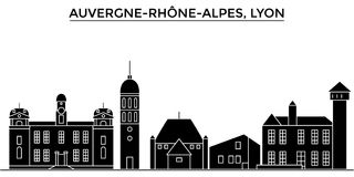 France, Auvergne Rhone Alpes, Lyon architecture vector city skyline, travel cityscape with landmarks, buildings Stock Photos