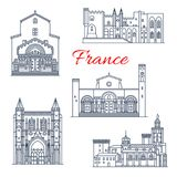 France Avignon and Arles vector architecture. France famous travel landmark buildings and Avignon architecture sightseeing line icons. Vector set of Saint Gilles royalty free illustration
