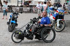 France, Avignon - July 1, 2014. Young man disabled person sits i Stock Images