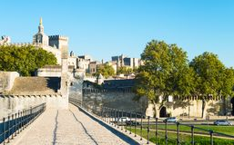 Architectures and monuments of Avignon. France, Avignon, the old town seen from the St Benezet bridge, also known as the Bridge of Avignon, on the Rhone river Royalty Free Stock Image