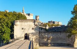 Architectures and monuments of Avignon. France, Avignon, the old town seen from the St Benezet bridge, also known as the Bridge of Avignon, on the Rhone river Royalty Free Stock Photo