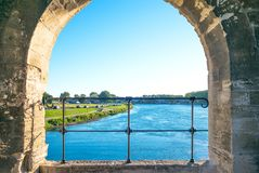 Architectures and monuments of Avignon. France, Avignon, the Rhone riverseen from the Benezet bridge, also known as the Bridge of Avignon Stock Images