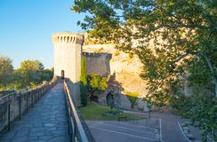 Architectures and monuments of Avignon. France, Avignon, a tower of the walls of the old city Stock Photo