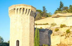 Architectures and monuments of Avignon. France, Avignon, a tower of the walls of the old city Stock Image