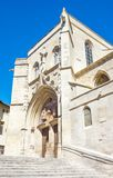 Architectures and monuments of Avignon. France, Avignon, upward view of the Collegiate Church of St Agricole Stock Photos