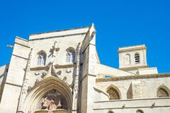 Architectures and monuments of Avignon. France, Avignon, upward view of the Collegiate Church of St Agricole Stock Photography