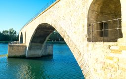 Architectures and monuments of Avignon. France, Avignon,view of the arches of the St Benezet bridge, also known as the Bridge of Avignon, on the Rhone river Royalty Free Stock Photos