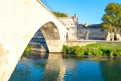 Architectures and monuments of Avignon. France, Avignon,view of the arches of the St Benezet bridge, also known as the Bridge of Avignon, on the Rhone river Stock Images