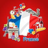 France background design. French traditional sticker symbols and objects Royalty Free Stock Images