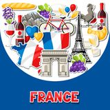 France background design. French traditional sticker symbols and objects Stock Images