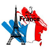 France background design. French traditional symbols and objects Royalty Free Stock Photo