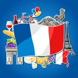 France background design. French traditional sticker symbols and objects Stock Photography