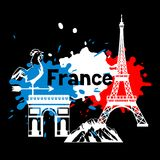 France background design. French traditional symbols and objects Stock Images