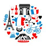 France background design. French traditional symbols and objects Stock Photo