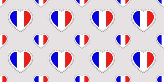 France background. French flag stickers seamless pattern. Vector love hearts symbols. Good choice for language courses, sports pag stock illustration