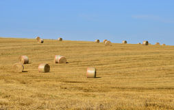 France, bales of straw in a field near Saint Clair sur Epte Royalty Free Stock Images