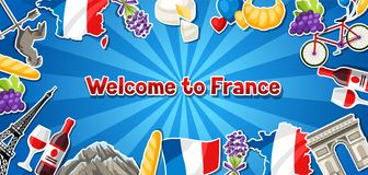 France banner design. French traditional sticker symbols and objects Royalty Free Stock Photography