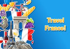 France banner design. French traditional sticker symbols and objects Stock Image