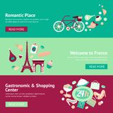 France banner set. With romantic place welcome gastronomic and shopping center isolated vector illustration Royalty Free Stock Images