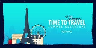 France banner. Time to Travel. Journey, trip and vacation. Vector flat illustration. France banner. Time to Travel. Journey, trip and vacation. Vector flat Royalty Free Stock Image