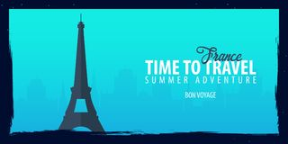France banner. Time to Travel. Journey, trip and vacation. Vector flat illustration. France banner. Time to Travel. Journey, trip and vacation. Vector flat Royalty Free Stock Images