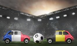 France and Belgium cars on football stadium Royalty Free Stock Photo