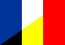 France belgium flag. France belgium neighbour countries half flag symbol Royalty Free Stock Photo
