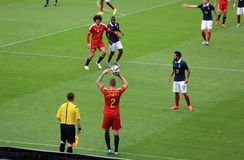 France-Belgium football match Royalty Free Stock Images