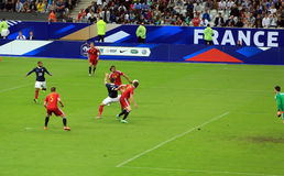 France-Belgium football match Stock Photography