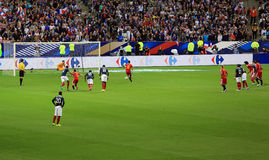 France-Belgium football match Royalty Free Stock Photo