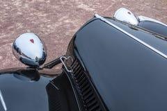 France-BernayNormandiy - MAY 01, 2019: Classic An oldtimer car close-up, black citroen traction avant évent. France-BernayNormandiy - MAY 01, 2019: Classic An stock photo