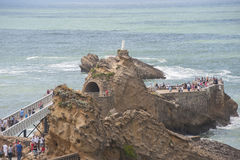 France, Biarritz - JULY 21, 2014: The Rock of the Virgin Mary in Royalty Free Stock Photo