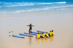 France, Biarritz, 21 July 2015: surf school at the beach Royalty Free Stock Photos