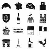 France black simple icons. Set  on white background Royalty Free Stock Image