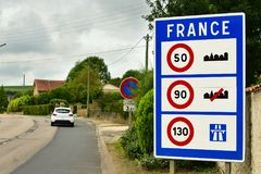 France border sign Stock Photo