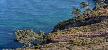 France, Brittany, Bretagne, Finistere. Rocky landscape at Presqu`ile Crozon Stock Images