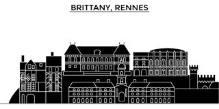France, Brittany, Rennes architecture vector city skyline, travel cityscape with landmarks, buildings, isolated sights Royalty Free Stock Image