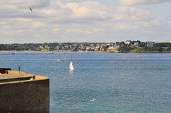 France, Brittany. St. Malo town wall with view to Dinard Village Royalty Free Stock Photography