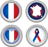 France Buttons. For 14 of July Stock Images