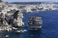 France, Córsega, costa rochosa de Bonifacio fotografia de stock royalty free
