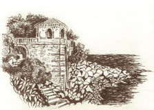 France. Cape Martin in the south of France. Drawing . Stock Image