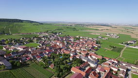 France, Champagne, regional park of Montagne de Reims, Aerial view of Chamery stock video footage