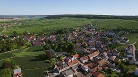 France, Champagne, regional park of Montagne de Reims, Aerial view of Ville Dommange stock footage