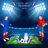 France 2016 Championship. Football Game Infographic France 2016 European Championship Soccer Players. Final qualified countries. Europe Tournament group stage Stock Images